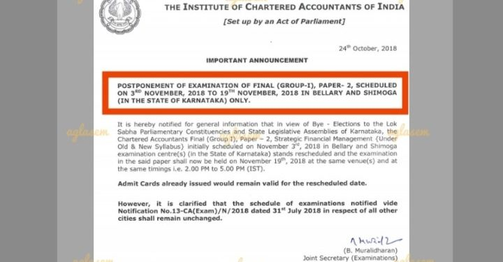 CA Final Nov 2018 Exam postponed