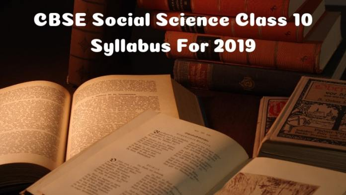 CBSE Social Science class 10 syllabus for 2019