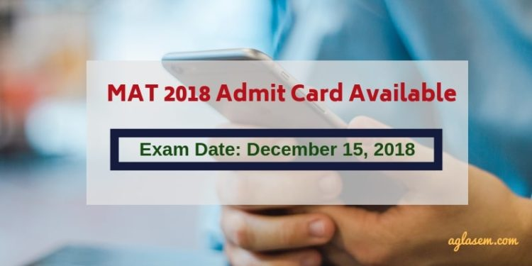MAT 2018 Admit Card for CBT & PBT