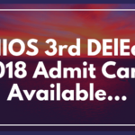 NIOS 3rd DElEd 2018 Admit Card