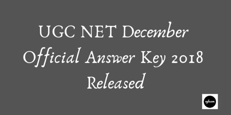 UGC NET December Official Answer Key 2018