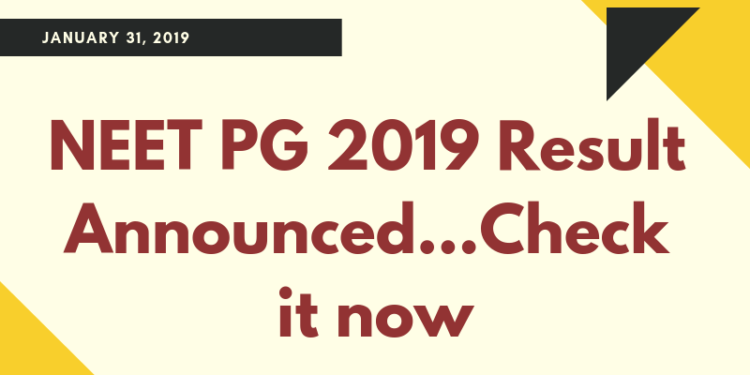 NEET PG 2019 Result Announced
