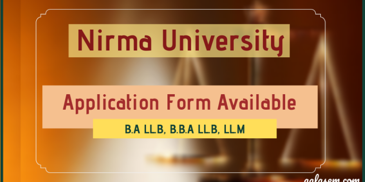 Nirma University Application form 2019