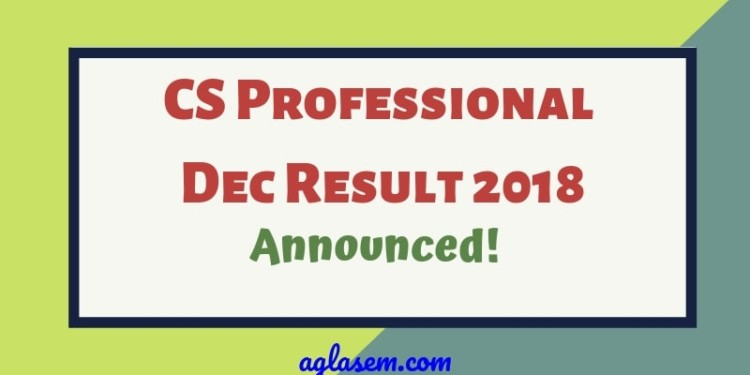 CS Professional Dec Result 2018
