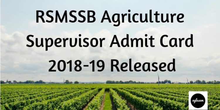 RSMSSB Agriculture Supervisor Admit Card 2018-19 Released