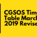CGSOS Time Table 2019 Revised