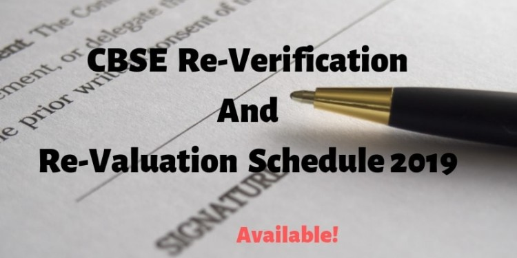 CBSE Re-Verification and Re-Valuation Schedule 2019