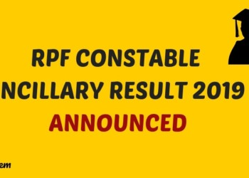 RPF Constable Ancillary Result 2019 Announced Aglasem