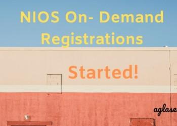NIOS On Demand Registrations Started