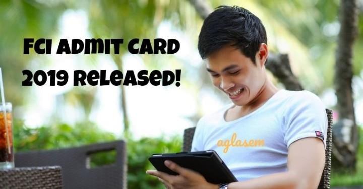 FCI Admit Card 2019