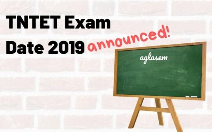 TNTET Exam Date 2019