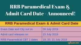 RRB Paramedical Exam and Admit Card Date