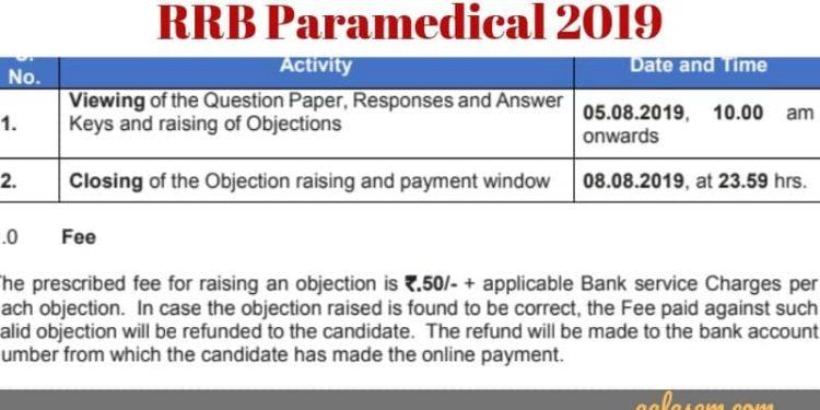 RRB Paramedical Answer Key Date 2019