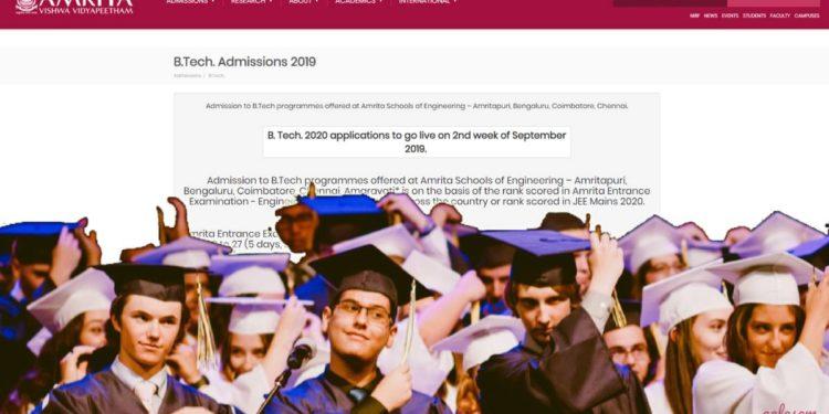 Amrita Vishwa Vidyapeetham announces AEEE 2020 exam date