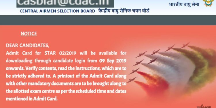 Airmen Group X and Y Admit Card 2019