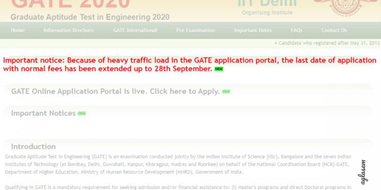 GATE 2020 extends last date to fill application form