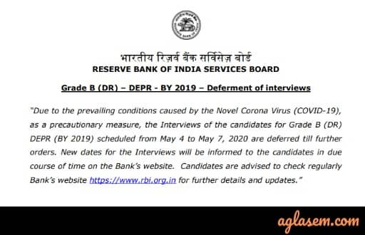 RBI Defers All the Interview of Grade B Recruitment Indefinitely