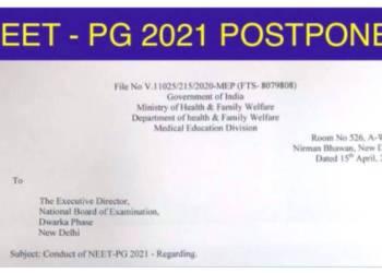 NEET PG 2021 Postponed