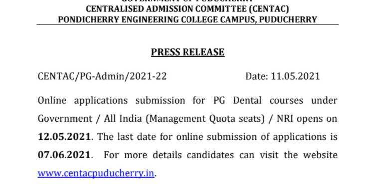 NEET MDS 2021 Counselling CENTAC