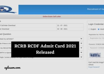 RCRB RCDF Admit Card 2021 Released